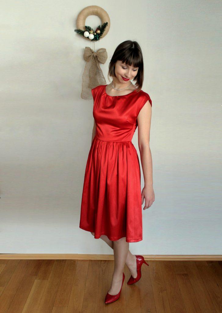%name Pierwsza sukienka dla siebie uszyta! Czerwona i rozkloszowana