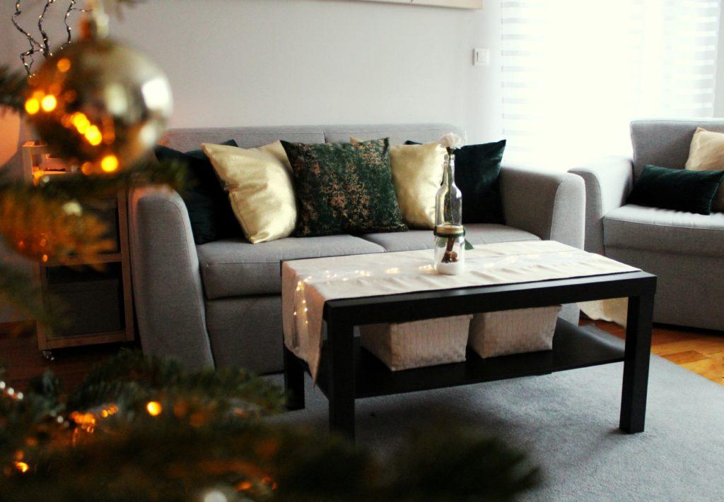 IMG 4805 2 1024x711 Świąteczny home decor    butelkowa zieleń i złoto